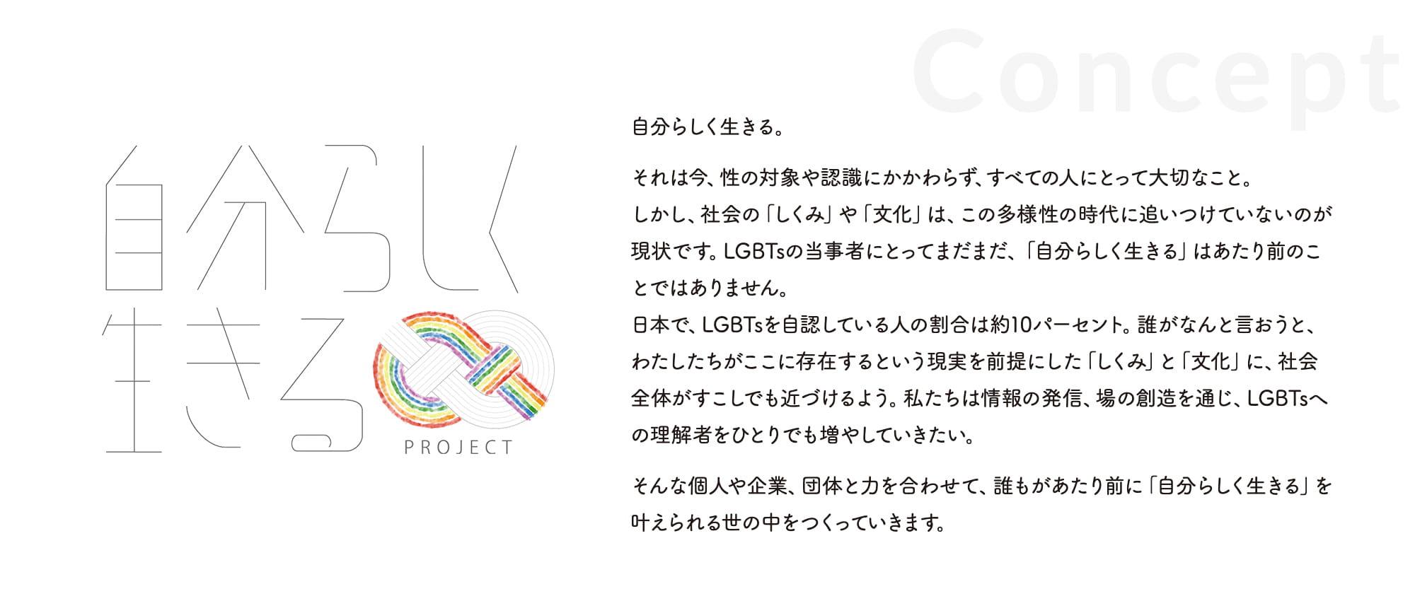 自分らしく生きる。それは今、性の対象や認識にかかわらず、すべての人にとって大切なこと。しかし、社会の「しくみ」や「文化」は、この多様性の時代に追いつけていないのが現状です。LGBTsの当事者にとってまだまだ、「自分らしく生きる」はあたり前のことではありません。日本で、LGBTsを自認している人の割合は約10パーセント。誰がなんと言おうと、わたしたちがここに存在するという現実を前提にした「しくみ」と「文化」に、社会全体がすこしでも近づけるよう。私たちは情報の発信、場の創造を通じ、LGBTsへの理解者をひとりでも増やしていきたい。そんな個人や企業、団体と力を合わせて、誰もがあたり前に「自分らしく生きる」を叶えられる世の中をつくっていきます。
